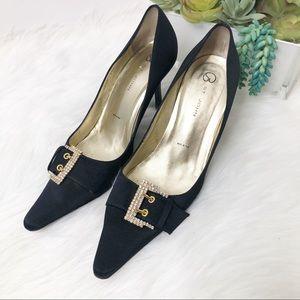 St. John black satin heel with rhinestone